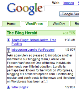 Google Custom Homepage New feed excerpt feature