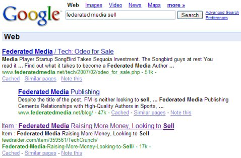 Federated Media Sell Google