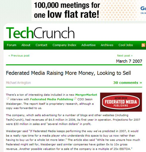 Federated Media Sell TechCrunch
