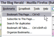 Firefox Bookmark Tab Menu