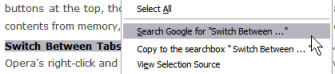 Firefox Select search option in Right Click menu