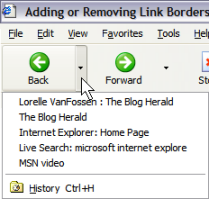 Internet Explorer back button arrow offers choices on a drop down menu
