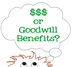 Graphic Copyright Lorelle VanFossen - Money or goodwill benefits?