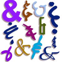 Graphic of ampersands in various fonts copyright Lorelle VanFossen