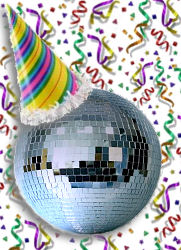Blog birthday - mirror ball wears party hat