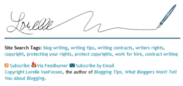 Example of signature on Lorelle on WordPress blog