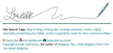 Example of signature on Lorelle on WordPress blog