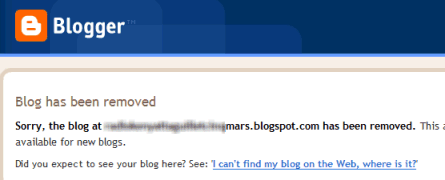 Blogspot Blogger blog removed notification