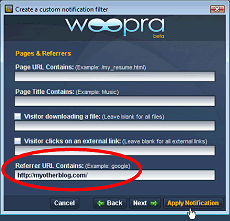 Event Notification example in Woopra