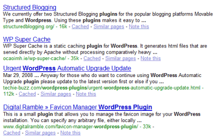 SEO and keyword example of finding results lower in the list because there is more words between the search terms.