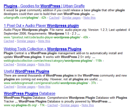 SEO and keywords example of the search terms close together rising higher in the ranks