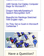 Example of a map locating readers on a blog