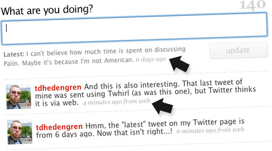 Twitter on the Web: Not Exactly Up to Date