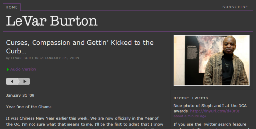 LeVar Burton's new blog