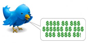 Twitter bird sings money symbols
