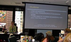Glenda Watson Hyatt presenting web accessibility at SOBCon09