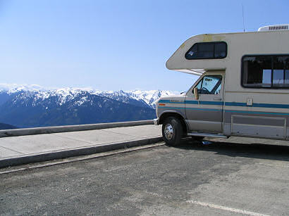 Motor home at Hurricane Ridge, Olympic National Park, Washington State, Olympic Mountains - photograph by Lorelle VanFossen