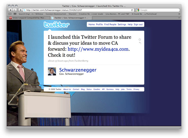 Schwarzenegger Uses Twitter to Communicate with CA Citizens