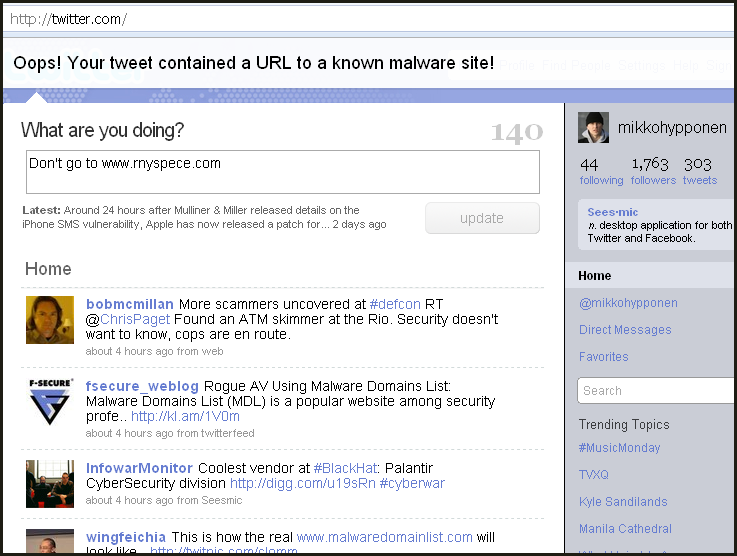 Twitter filters malicious URLs including shortened ones