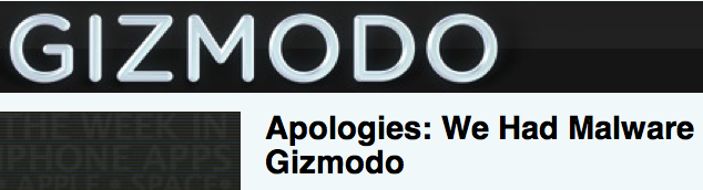 Gizmodo duped by scammers, publishes malware-laced ads