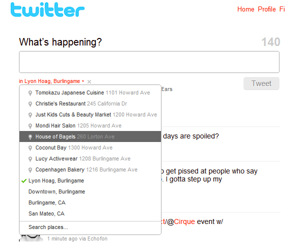 Twitter Places - Screenshot 1
