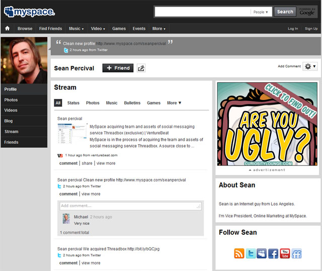 New MySpace Profile Pages Start Showing Up
