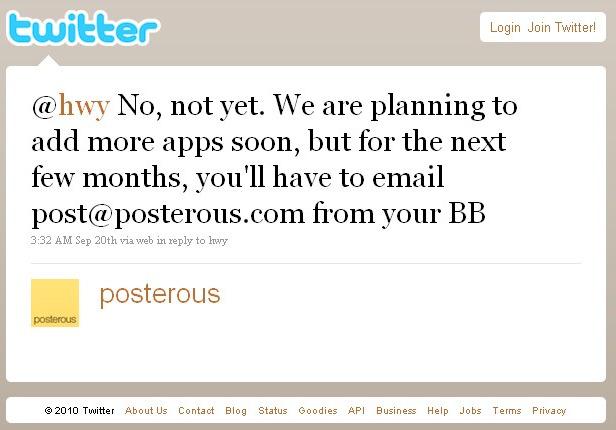 Posterous Ponders Blackberry App