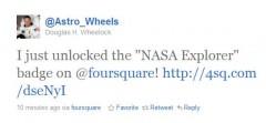 Doug Wheelock Foursquare Check-in Message