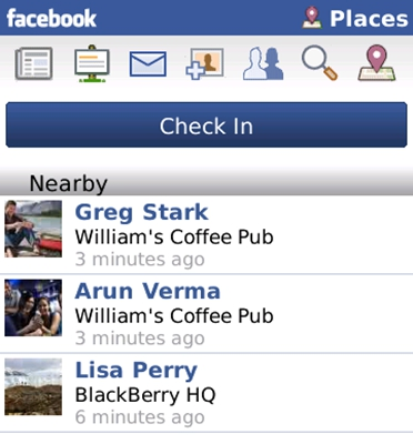 Facebook Places Debuts For Blackberry