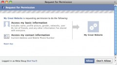 Facebook Phone Number Approval Screen