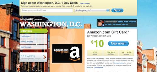 LivingSocial Screenshot - Amazon Gift Card Deal