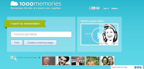 1000Memories Screen Capture