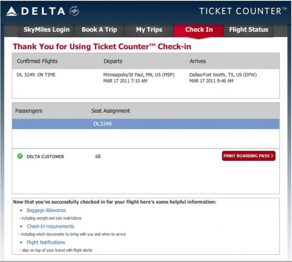 Delta Check-In on Facebook