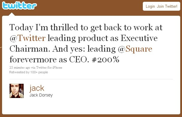 At Twitter, Jack Is Back!