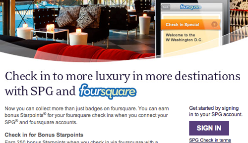 Starwood Hotels Now Offering Foursquare Checkin Incentives