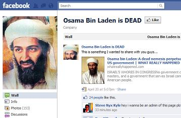 Osama bin Laden is DEAD Facebook page