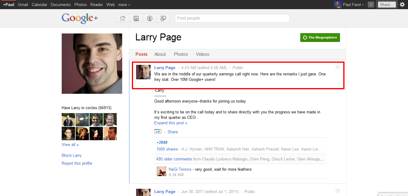 Larry Page on Google+: Now 10 million strong