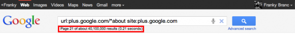 Search for Google+ Profiles via Google