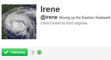 Hurricane Irene Gets Own Twitter Account, Doesn't Want To Hurt Anyone