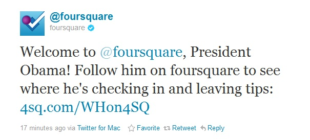 President Obama Foursquare Welcome Message