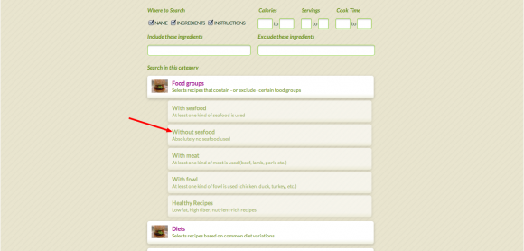Recipe Finder Advanced Categories