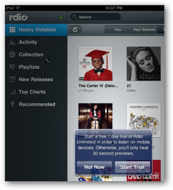 Facebook Login Gives Rdio User A Free 7-Day Trial