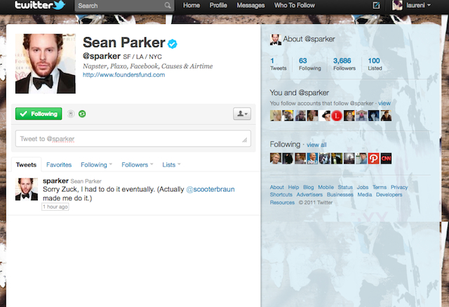 Napster Co-Founder Sean Parker Joins Twitter, Apologizes To Zuckerberg