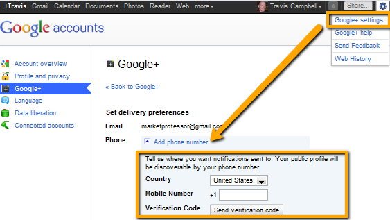 Google Plus SMS Updates