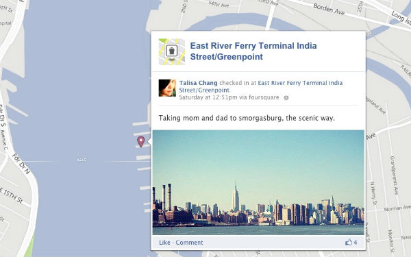 Foursquare Check-Ins Now Integrated With Facebook Timeline Map