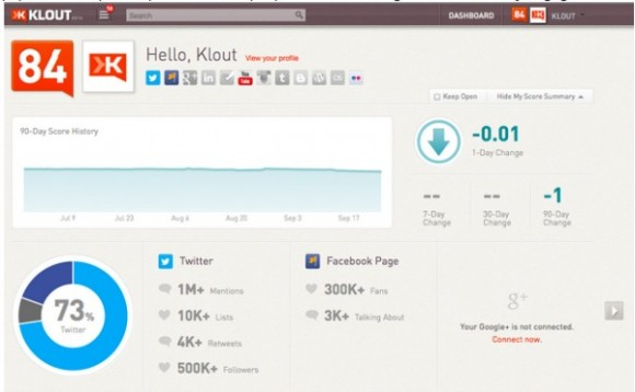 Klout Facebook Page