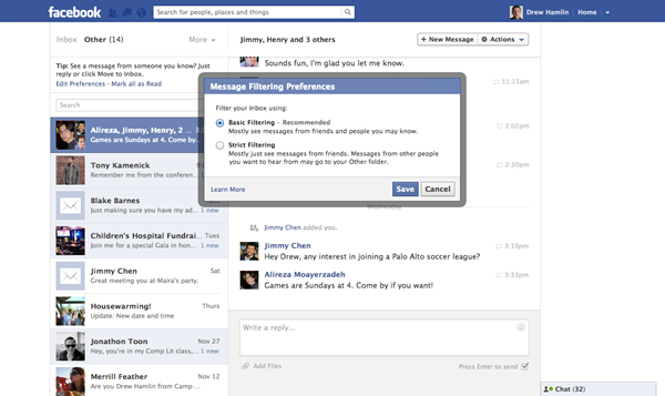 Facebook Paid Messages In Beta Testing, Email Filters Announced
