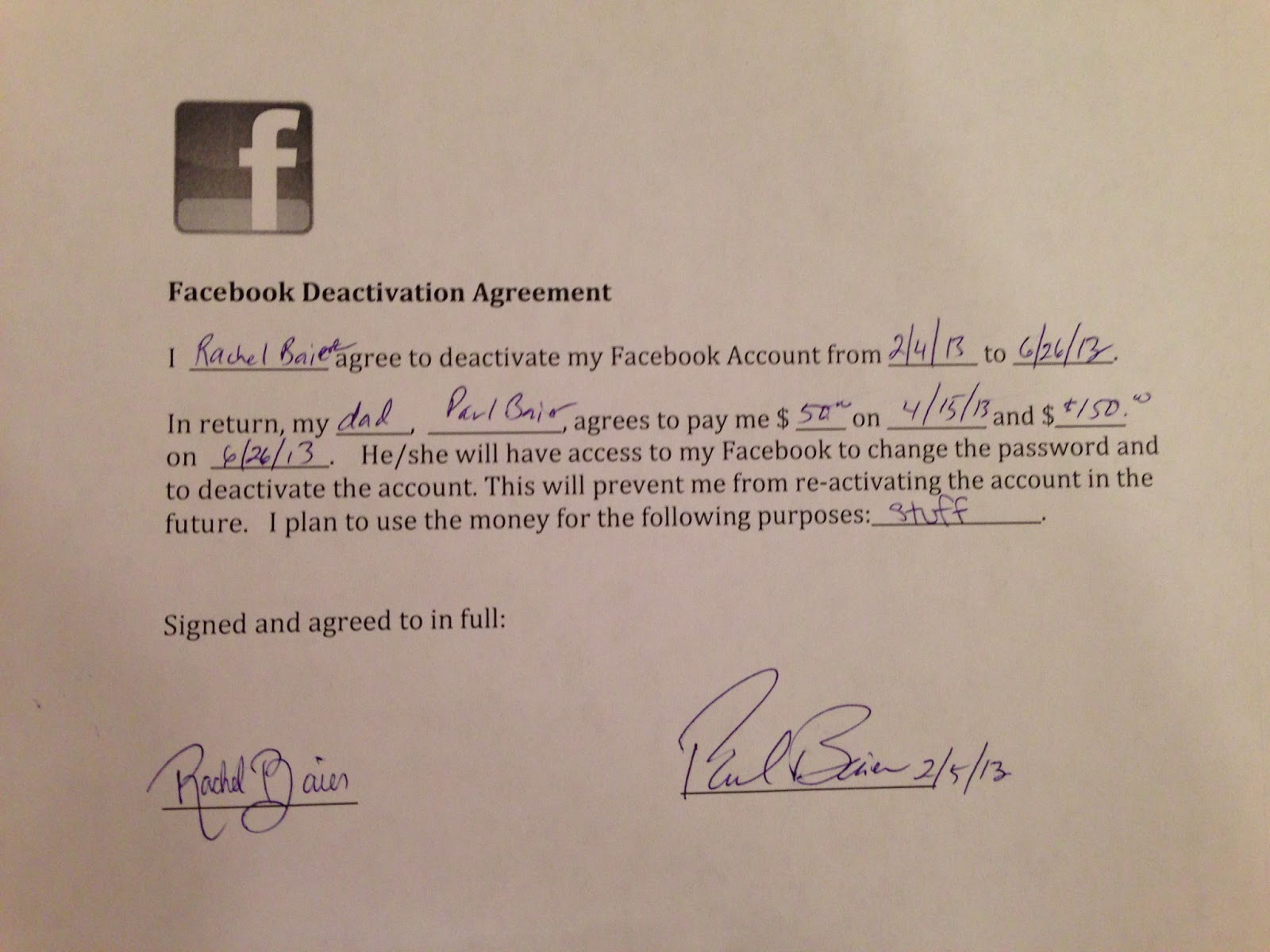 Dad Pays Daughter $200 To Quit Facebook