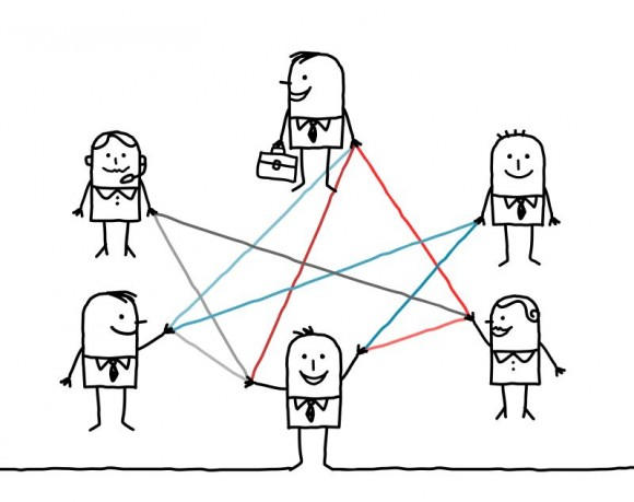 business people connected by color lines