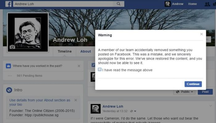 "Facebook Apologizes After Deleting Blogger's Post ""By Accident"""